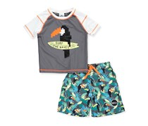 Skechers Boys' 2-Piece Swim Set Outfit, Grey Combo