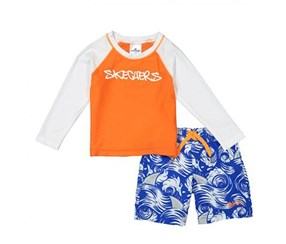 Skechers Baby Boys Two-Piece Rashguard Swim Set, Orange/White