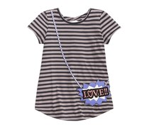 Jessica Simpson Puff-Print Purse-Pocket Striped T-Shirt, Black/Grey