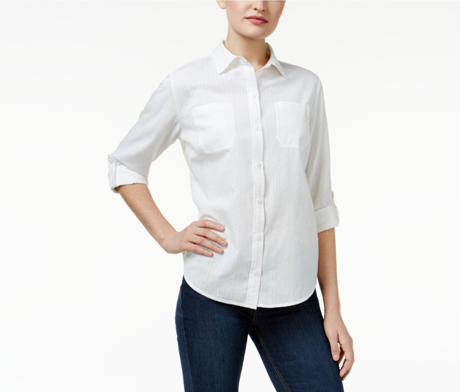 Petite Button-Up Shirt, Bright White