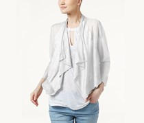 International Concepts Petite Cropped Open-Front Cardigan, White