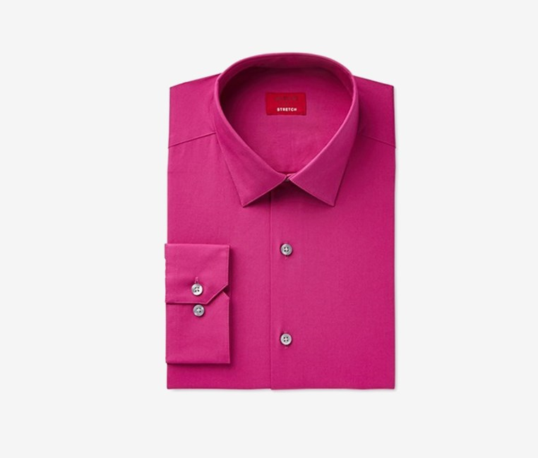 Slim Fit Stretch Men's Dress Shirt, Fiesta Pink
