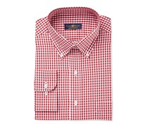 Men's Wrinkle Resistant Gingham Dress Shirt, Red