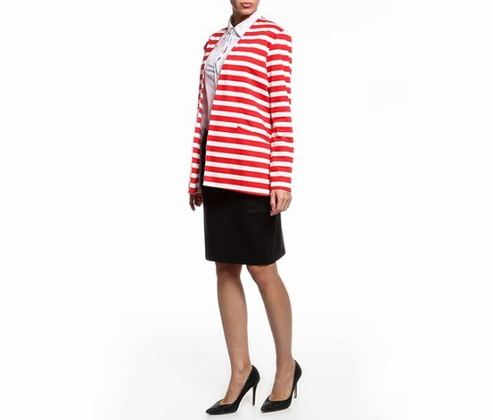 Women's Striped Blazer, Red/Ivory