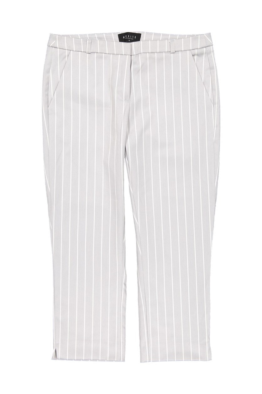 Women's Stripe Capri Pants, Light Grey