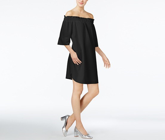Smocked Off-The-Shoulder Dress, Black