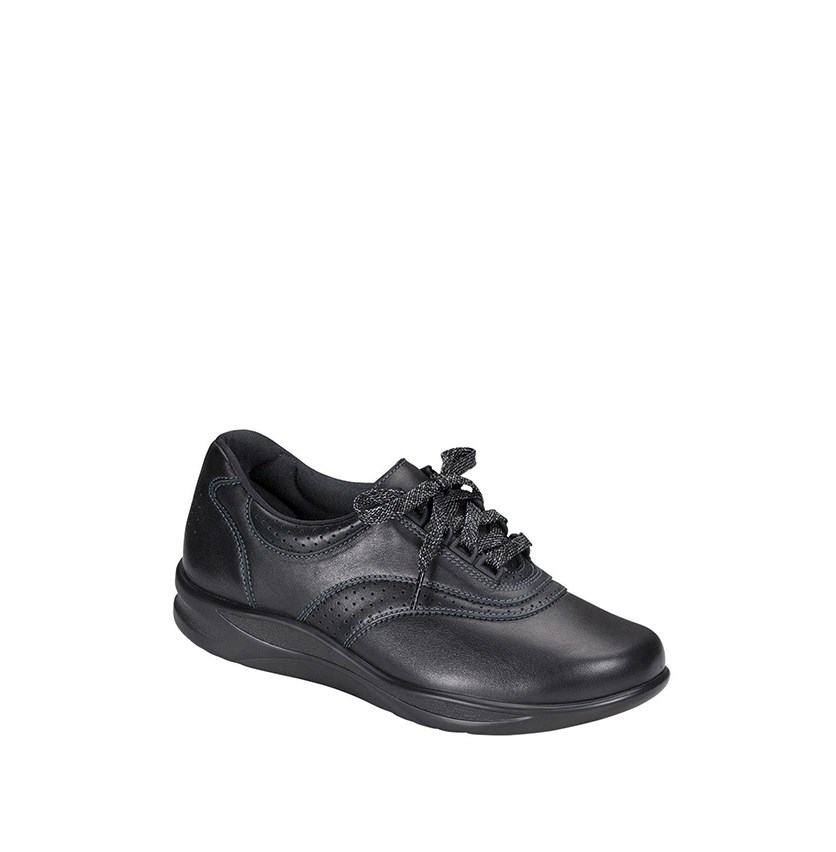 Womens Walk Easy Low Top Lace up Walking Shoes, Black