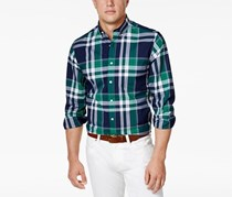 Club Room Mens Plaid Stretch Shirt, Leprechaun