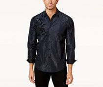INC International Concepts Mens Striped Flocked Shirt, Navy Combo