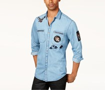INC Mens Denim Patch Shirt, Medium Wash