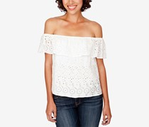 Lucky Brand Off-The-Shoulder Eyelet Top, Marshmallow