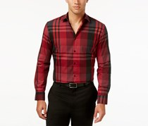 Alfani Long-Sleeve Plaid Shirt, Berry Truffle