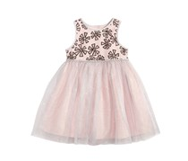 Toddlers Embroidered Flowers Dress, Silver/Black