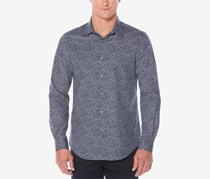 Perry Ellis Mens Floral-Print Shirt, Blueprint