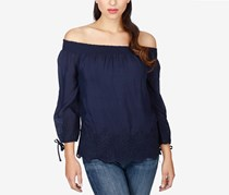 Lucky Brand Eyelet Off the Shoulder Top, Navy