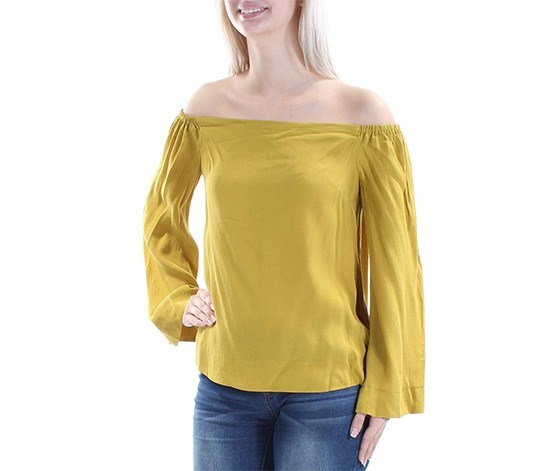 Off-The-Shoulder Denim Top, Ochre