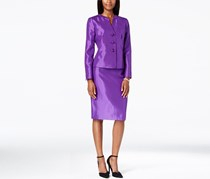 Le Suit Slubbed Suit Jacket & Skirt Set, Purple