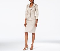 Kasper Metallic Three-Button Jacket Skirt Suit, Beige