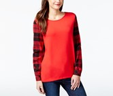 G.h. Bass & Co. Plaid-Sleeve Crew-Neck Top, Red