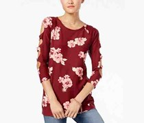 by Almost Famous Juniors Cutout-Sleeve Tunic, Burgundy Floral