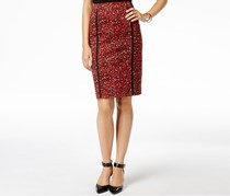 Anne Klein Animal-Print Ponte Pencil Skirt, Black/Red