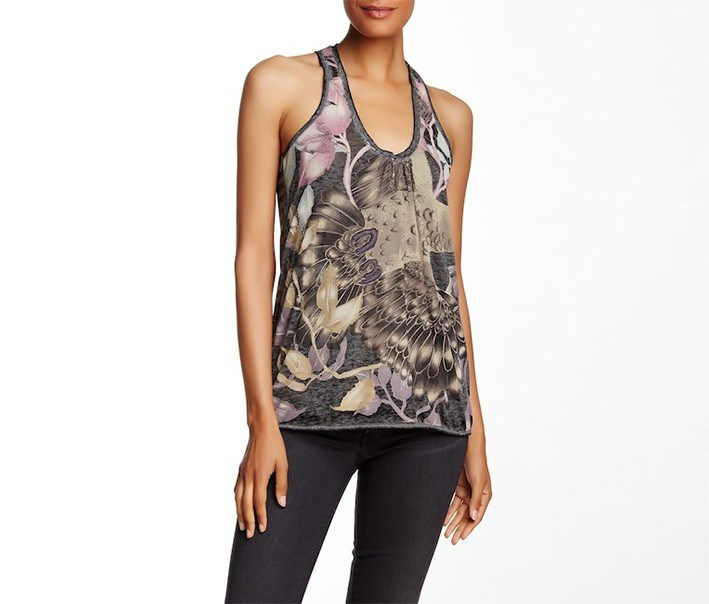 Printed Racerback Tank, Grey/Black