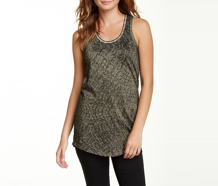 Womens Scoop-Neck Metallic Top, Olive