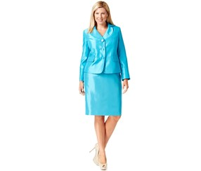 Le Suit Plus Size Three-Button Skirt Suit, Ocean