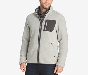 G.h. Bass & Co. Men's Big and Tall Full-Zip Fleece Sweater, Silver Birch
