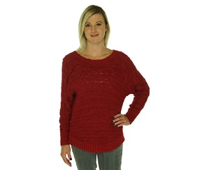 INC International Concepts Cable Knit Pullover Sweater, Dark Red
