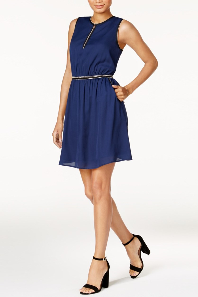 Crochet-Trim Fit & Flare Dress, Blu Notte