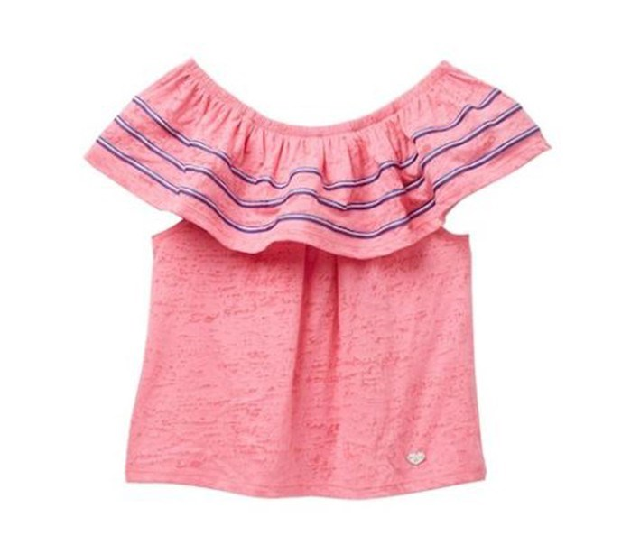 Kid's Girl Burnout Knit Ruffle Top, Pink