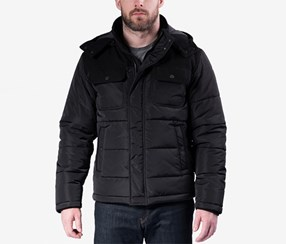 Hawke & Co. Outfitter Men's Quilted Mixed-Media Puffer Jacket, Black