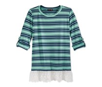 Max & Riley Girl's Layered-Look Roll-Tab Striped Top, Aqua/Navy Blue