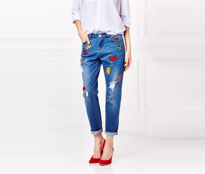 Womens Patches Jeans, Blue