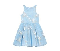 Nanette Lepore Kid's Girl's Embroidered Mesh Dress, Light Blue