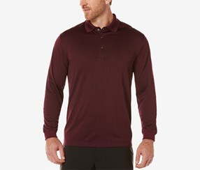 Pga Tour Men's Heathered Long-Sleeve Polo, Maroon