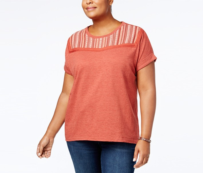 Plus Size Embroidered-Yoke T-Shirt, Cabin Red