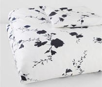 Vera Wang Ink Wash Floral Queen Duvet Cover, White/Ink Blue