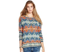 Denim & Supply Ralph Lauren Geometric Crewneck Tunic, Blue/Orange