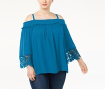 INC International Concepts Plus Size Cold-Shoulder Top, True Teal