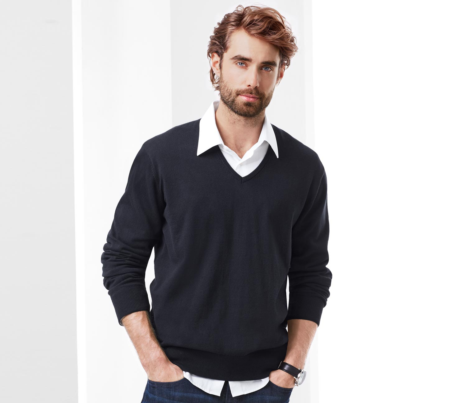 Men's V-Neck Long Sleeves Shirt, Navy Blue