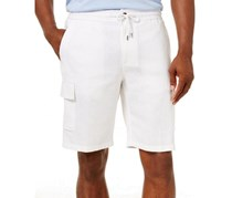 Mens Linen Drawstring Cargo Short, Bright White