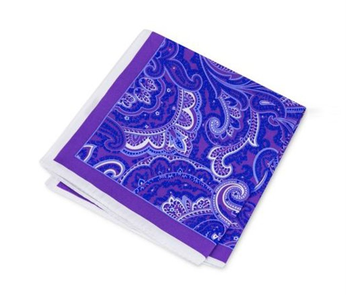 Mens Paisley Pocket Square, Purple