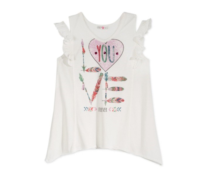 Love You Ruffle Cold-Shoulder T-Shirt, Ivory