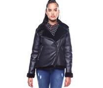 Nanette Lepore Faux Shearling Double Buckle Collar Jacket, Black