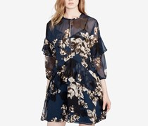 Rachel Roy Womens Floral Print Ruffled Party Dress, Bluesteel Combo