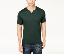 Mens Soft Touch Split-Neck Tee, Forest Moss