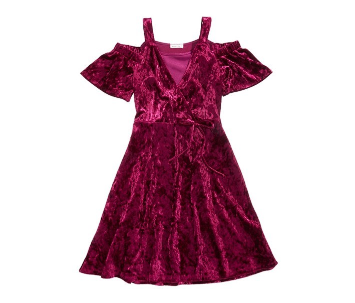 Velvet Cold Shoulder Party Dress, Burgundy
