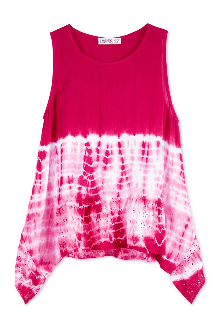 Tie-Dyed Cotton Tank Top, Fuschia